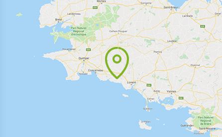 carte qui géolocalise Riec en Bretagne via un rond vert
