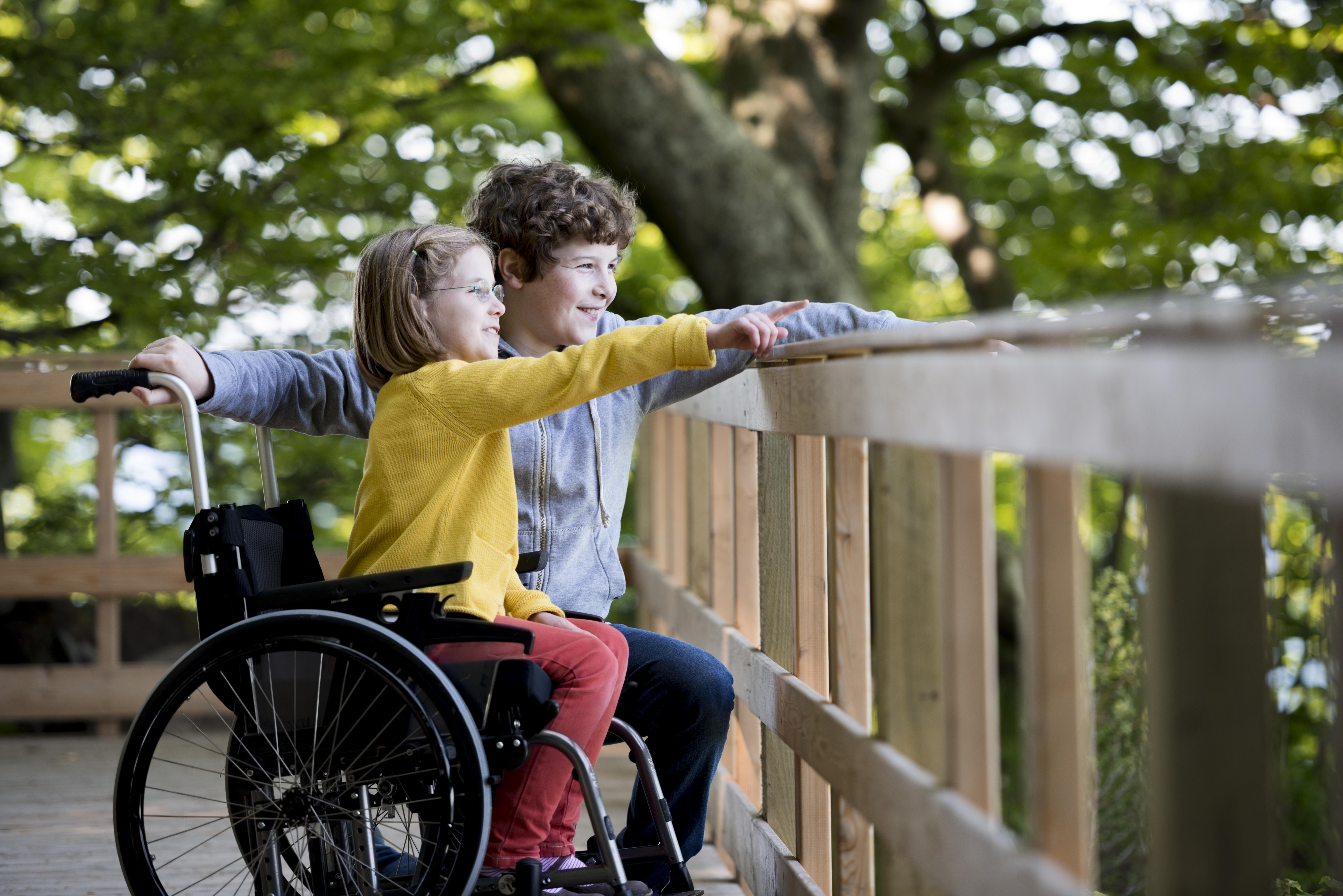 Sur uneplateforme en bois, deux enfants, une fille en fauteuil roulant etungarçon accroupi à sa hauteur, regardent au loin et montrent du doigt quelque chose. En arrière-plan, des arbreset leur feuillage abondant.