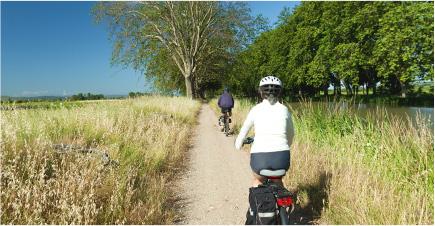 Deux personnes de dos, se baladent en vélo dans la campagne. Le ciel est dégagé, le sentier est entouré d'herbes hautes. Au bout du chemin on peut apercevoir au loin de grands arbres verdoyants.